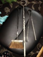 VINTAGE CAST IRON FIRESIDE POKER (TWIST HANDLE)  & TONGS & BRUSH LOOK VERY OLD